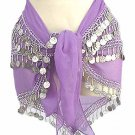 Lilac Belly Dancing Hip Scarf 4 Line with Beads and Coins
