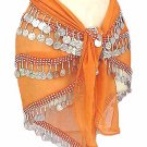 Orange Belly Dancing Hip Scarf 4 Line with Beads and Coins