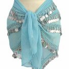 Belly Dancer Hip Scarf Turqoise 4 Line with Beads and Coins