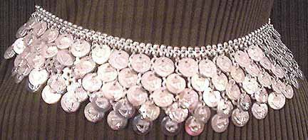 Silver Belly Chain Coin Belt Waist Chain V