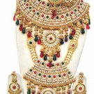 Indian Sari Bridal Jewelry Wedding Set 2 Necklace Multicolor Stones WJ-01