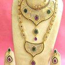 Indian Saree Bridal Jewelry Wedding Set 2 Necklace Multicolor Stones WJ-07