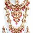 Indian Saree Bridal Jewelry Wedding Set 2 Necklace Multicolor Stones WJ-10