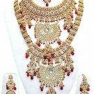 Indian Saree Bridal Jewelry Wedding Set 2 Necklace Multicolor Stones WJ-12