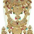 Indian Saree Bridal Jewelry Wedding Set 2 Necklace Multicolor Stones WJ-14
