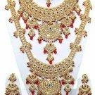 Indian Saree Bridal Jewelry Wedding Set 2 Necklace Multicolor Stones WJ-16