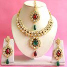 Indian Bridal Saree Jewelry Set Multicolor Stones NP-200