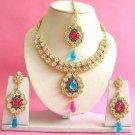 Indian Bridal Saree Jewelry Set Multicolor Stones NP-201