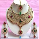 Indian Bridal Saree Jewelry Set Multicolor Stones NP-210