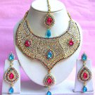 Indian Bridal Saree Jewelry Set Multicolor Stones NP-215