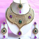 Indian Bridal Saree Jewelry Set Multicolor Stones NP-217