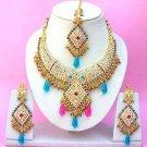 Indian Bridal Saree Jewelry Set Multicolor Stones NP-256