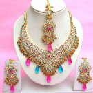 Indian Bridal Saree Jewelry Set Multicolor Stones NP-270