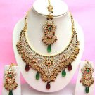 Indian Bridal Saree Jewelry Set Multicolor Stones NP-272