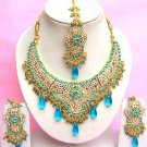Indian Bridal Saree Jewelry Set Multicolor Stones NP-274