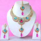Indian Bridal Saree Jewelry Set Multicolor Stones NP-286