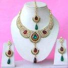 Indian Bridal Saree Jewelry Set Multicolor Stones NP-287