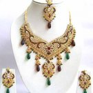 Indian Bridal Saree Jewelry Set Multicolor Stones NP-293