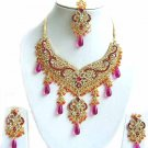 Indian Bridal Sari Jewelry Set Multicolor Stones NP-296