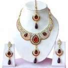 Indian Bridal Jewelry Necklace Set Multicolor Stones VS-1613
