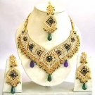 Indian Bridal Jewelry Necklace Set Multicolor Stones VS-1622