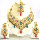 Indian Bridal Jewelry Necklace Set Multicolor Stones VS-1625