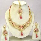 Indian Bridal Jewelry Necklace Set Multicolor Stones VS-1632