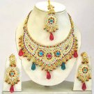 Indian Bridal Jewelry Necklace Set Multicolor Stones VS-1639