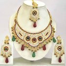 Indian Bridal Jewelry Necklace Set Multicolor Stones VS-1646
