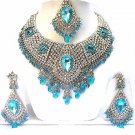 Bridal Jewelry Necklace Set Azure Blue Stones NP-14