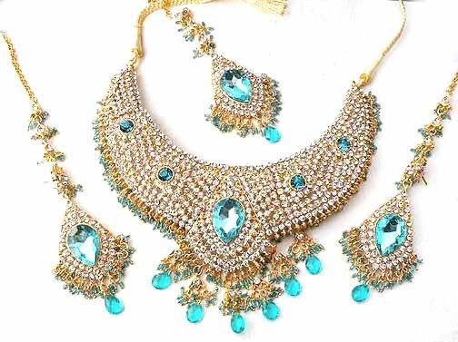 Turqoise Blue Bridal Jewelry Necklace Set w Stones NP-18
