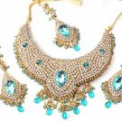 Turqoise Blue Bridal Jewelry Necklace Set w Stones NP-18