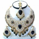 Dark Green Stones and Diamond Indian Bridal Jewelry Necklace SetNP-22