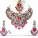 Diamond Indian Bridal Jewelry Necklace w Pink Stones Set NP-23