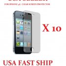 10 Units Screen Protector Iphone 4g 4gs Clear Lcd Guard Cover.