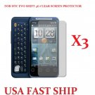 3 units HTC Evo Shift 4g  Clear Screen Protector Guard LCD Cover.