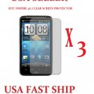 3 units HTC Inspire Clear Screen Protector Guard LCD Cover.