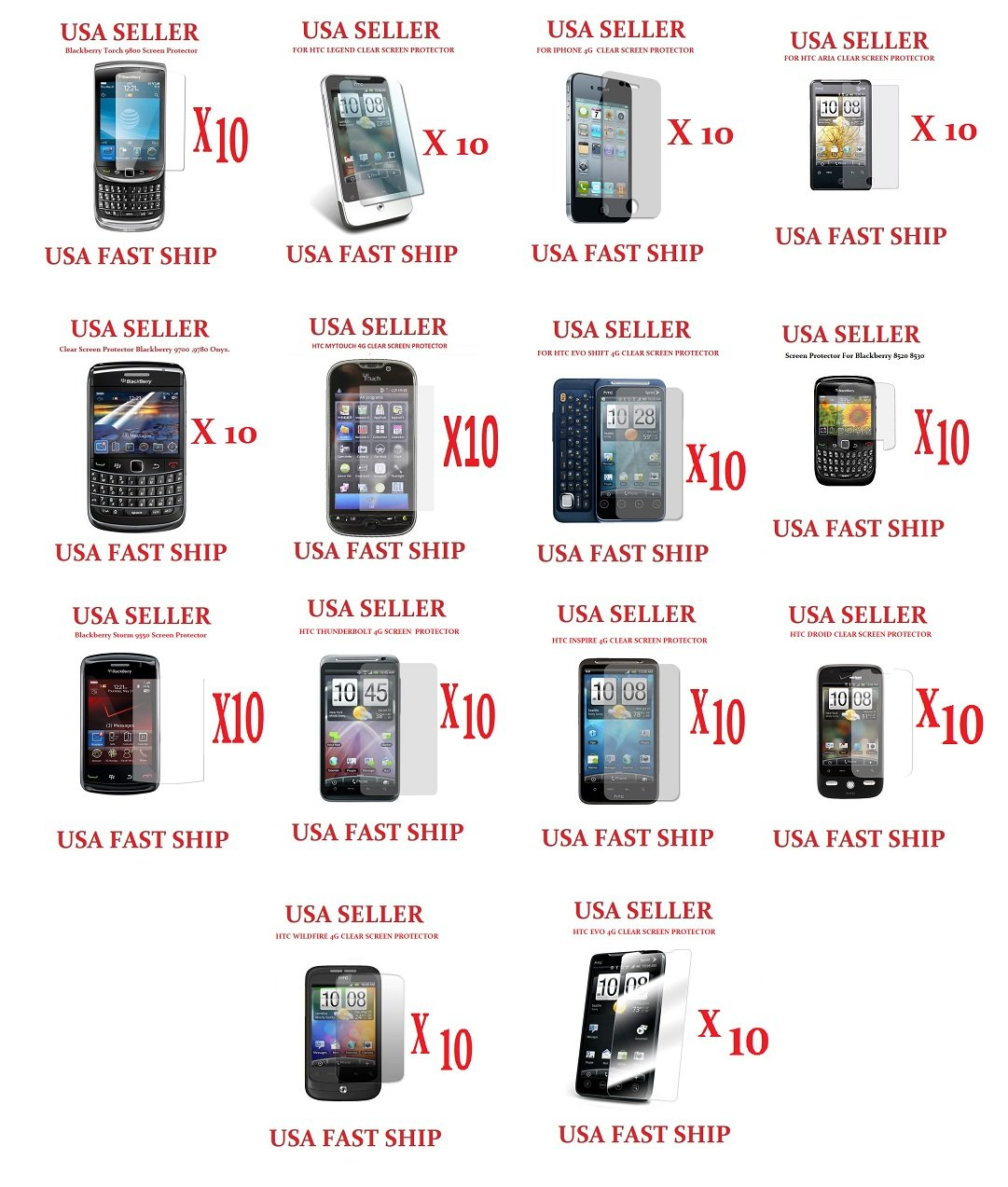 140 Units Clear Screen Protectors Wholesale lot htc Legend Aria Wildfire Evo blackberry iphone 4g