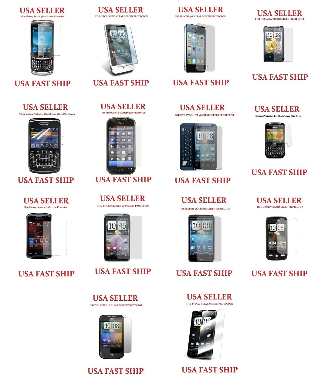 50 Units Clear Screen Protectors Wholesale lot htc Legend Aria Wildfire Evo blackberry iphone 4 g