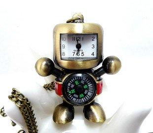 Retro robot compass pocket watch necklace