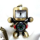 Retro robot compass pocket watch necklace