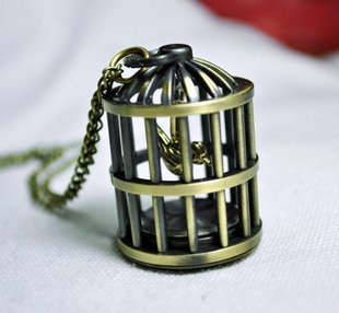 Birdcage pocket watch necklace