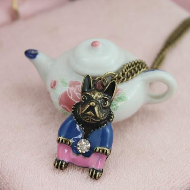 Cute Shar Pei necklace, Blue