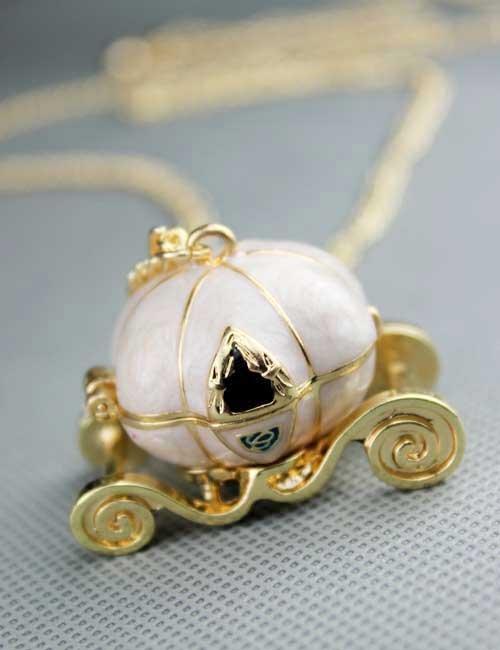 Cinderella's pumpkin car necklace