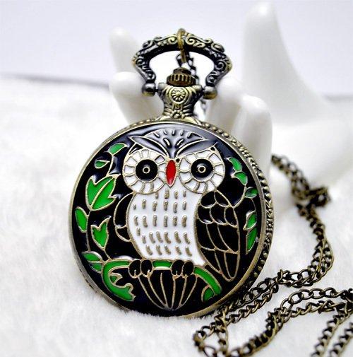 Beautiful owl watch necklace