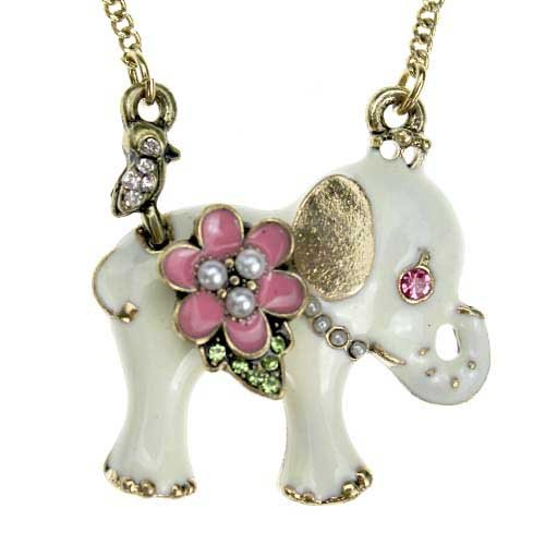 White Small elephant necklace