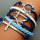 Cross Bracelet-Infinity Bracelet -Anchor Bracelet- Rudder Bracelet-Silver Charm Cute Bracelet