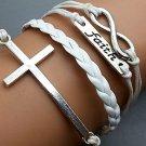 Silver Infinity Bracelet - Cross Bracelet - Faith Bracelet White Ropes Bracelet