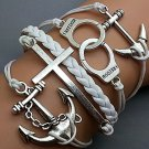 Anchor-Cross - Love -Handcuff -Anchor Bracelet-Silver Charm Bracelet