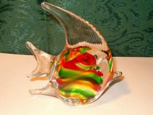 Hand Blown Glass Red/Green Angel Fish or Tropical Fish Paperweight